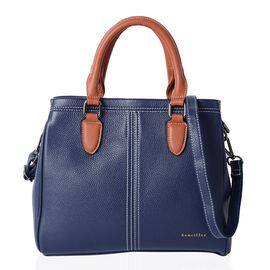 Sencillez 100% Super Soft Genuine Leather Navy Tote Bag with External Zipper Pocket and Removable Sh