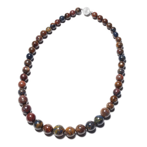 Namibian Pietersite Beaded Necklace in Rhodium Plated Sterling Silver 20 Inch