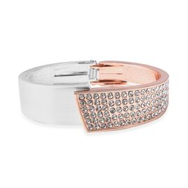 White Austrian Crystal (Rnd) Bangle (Size 6.5) in Silver and Rose Gold Tone