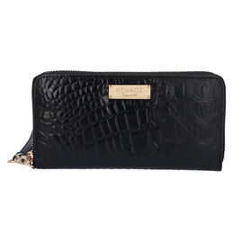 100% Genuine Leather RFID Protected Croc Embossed Wallet (Size 20.4x3x11.7 Cm) - Black