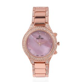 STRADA Japanese Movement Water Resistant with Pink MOP Dial White Crystal Studded Watch with Rose Gold Colour Strap