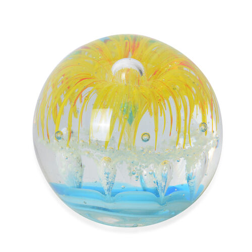 Large Murano Style Glass Paperweight Internal Decorations Yellow Flower and Colour Changing  LED