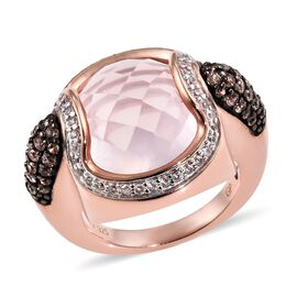 GP Rose Quartz (Rnd), Natural Cambodian Zircon, Brown Zircon and Blue Sapphire Ring in Rose Gold Ove