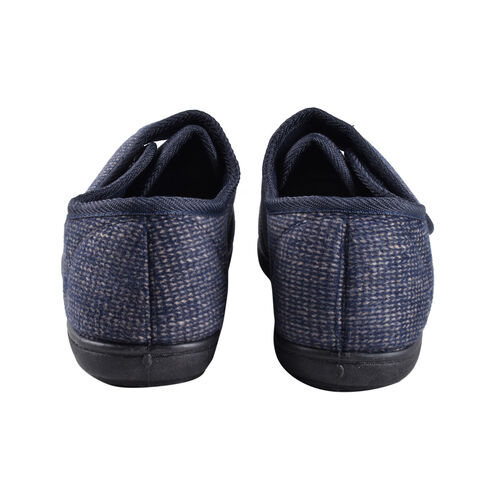Dunlop Mens Strap Slippers with Faux Fur Lining and Memory In-Sock (Size 9) - Navy