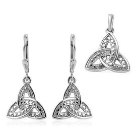 2 Piece Set - Natural Diamond (Rnd) Celtic Knot Lever Back Earrings and Pendant in Platinum Overlay