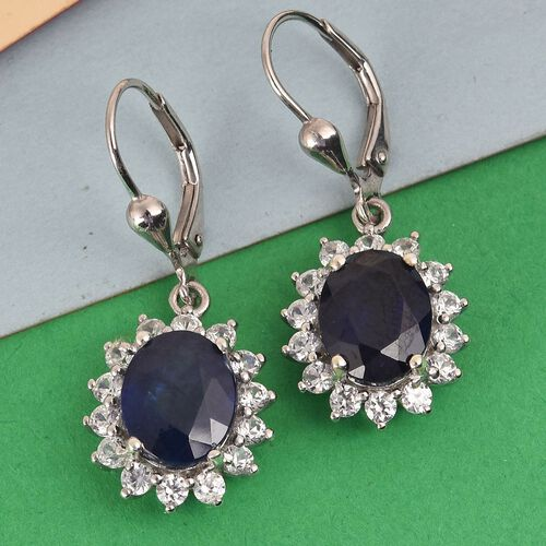 Masoala Sapphire and Natural Cambodian Zircon Earrings in Platinum Overlay Sterling Silver 10.50 Ct.