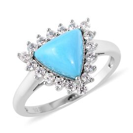 3.84 Ct Arizona Sleeping Beauty Turquoise and Zircon Halo Ring in Rhodium Plated Sterling Silver