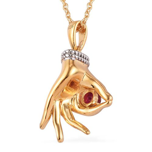 AA African Ruby Mudra Hand Pendant With Chain (Size 20) in Yellow Gold and Platinum Overlay Sterling Silver 0.35 Ct, Silver wt. 8.30 Gms