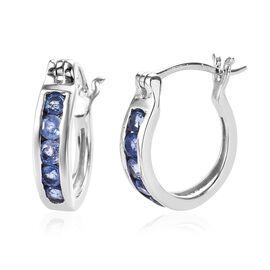 1 Carat Burmese Blue Sapphire Hoop Earrings in Platinum Plated Sterling Silver