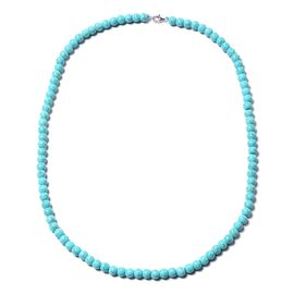 Blue Howlite Beads Necklace (Size 20) in Rhodium Overlay Sterling Silver with Lobster Lock 114.00 Ct