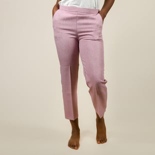 Emma Half Elasticated Comfortable Summer Trousers in Pink (Size 12) Inside Length 63.5 Cm