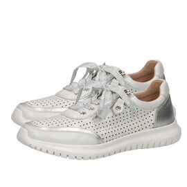 Caprice Leather Mesh Trainer - White