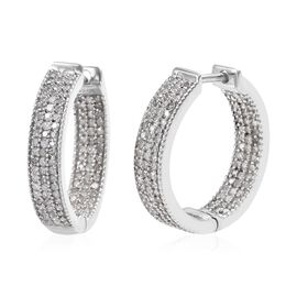 Diamond (Rnd) Inside-out Huggie Hoop Earrings (with Clasp) in Platinum Overlay Sterling Silver 1.00