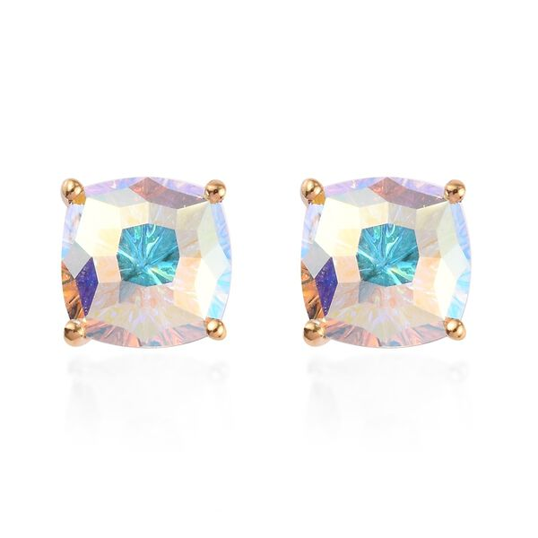 J Francis Crystal From Swarovski AB Crystal Stud Earrings (with Push Back) in 14K Gold Overlay Sterl