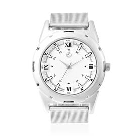 STRADA Japanese Movement White Dial Water Resistant Watch with Silver Tone Mesh Style Strap in Stain