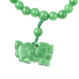 214.50 Ct Green Jade Beaded Bracelet with Lion Charm 6.5 Inch