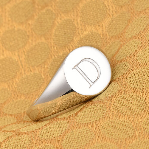 Personalise Engraved Initial Round Signet Ring