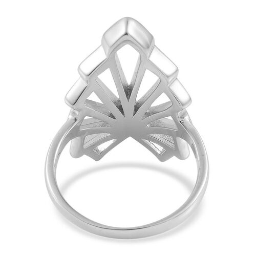 LucyQ Art Deco Ring in Rhodium Plated Sterling Silver 5.41 Gms.