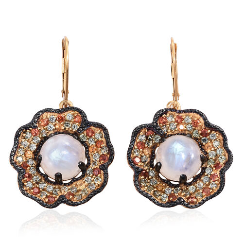 Sri Lankan Rainbow Moonstone (Rnd), Rainbow Sapphire Floral Inspired Lever Back Earrings in 14K Gold and Black Rhodium Overlay Sterling Silver 12.750 Ct. Silver wt 8.10 Gms. Number of Gemstone 104