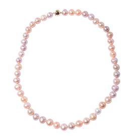 9K Yellow Gold Multi Colour Freshwater Pearl Necklace (Size 20) With Magnetic Lock