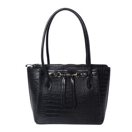 Solid Black Textured Tote Bag with Hanging Ornaments and Magnetic Closure (39x14.5x30cm)