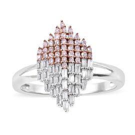 0.50 Ct Diamond and Natural Pink Diamond Cluster Ring in 9K White Gold 3.20 Grams