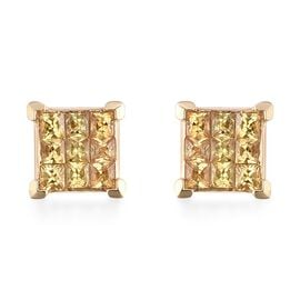 ILIANA 18K Yellow Gold AAA Yellow Sapphire (Sqr) Stud Earrings (with Screw Back) 1.150 Ct.