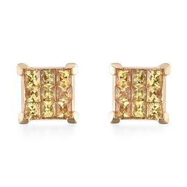 ILIANA 1.15 Ct AAA Yellow Sapphire Cluster Stud Earrings with Screw Back in 18K Gold 2.80 Grams