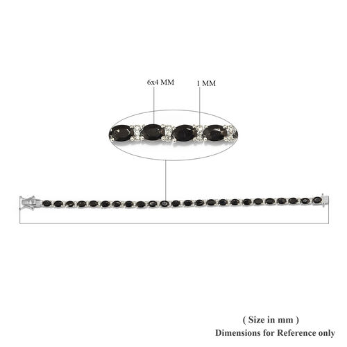 GP Elite Shungite (Ovl), Natural Cambodian Zircon and Blue Sapphire Bracelet (Size 7.5) in Platinum Overlay Sterling Silver 7.00 Ct, Silver wt 11.80 Gms