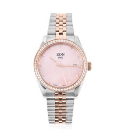 EON 1962 Swiss Movement 5ATM Water Resistant Watch with White Moissanite Embellishments, Pink Mother