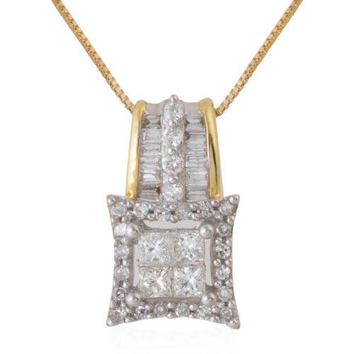 14K Yellow Gold Diamond (Sqr) Pendant with Chain 0.500 Ct.