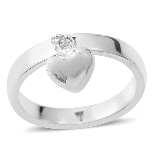 Designer Inspired - Sterling Silver Heart Charm Band Ring, Silver wt 4.03 Gms.