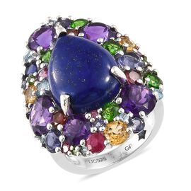 GP Lapis Lazuli (Pear 8.85 Ct), Amethyst and Multi Gemstone Ring in Platinum Overlay Sterling Silver