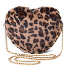 Brown Leopard Pattern Faux Fur Heart-Shaped Crossbody Bag with Chain Shoulder Strap in Gold Tone