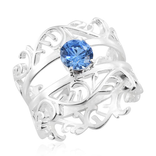 J Francis - Sterling Silver (Rnd) Filigree Ring Made with Blue SWAROVSKI ZIRCONIA. Silver wt. 6.60 Gms.