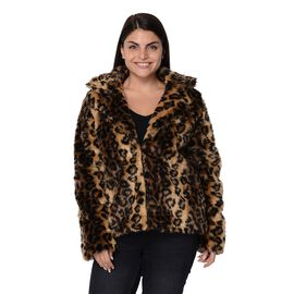 Leopard Print Faux Fur Winter Long Sleeve Coat in Brown and Black Colour