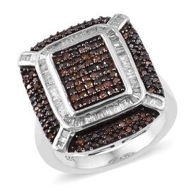 Red and White Diamond (Rnd) Ring in Platinum Overlay Sterling Silver 1.000 Ct, Silver wt 6.80 Gms, Number of Diamonds 216