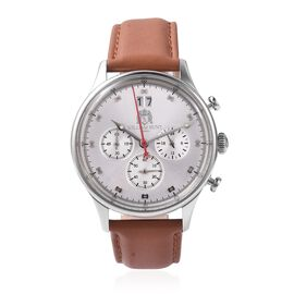 Super Auction - WILLIAM HUNT Japanese Movement Water Resistance Watch in Stainless Steel with Tan Le