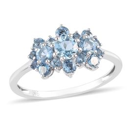 One Time Deal-9K White Gold Santamaria Aquamarine Boat Ring 1.05 Ct.