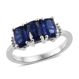 2.05 Ct Kashmir Blue Kyanite and Diamond Trilogy Ring in Platinum Plated Sterling Silver