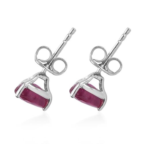 9K White Gold AA African Ruby Stud Earrings (with Push Back) 2.50 Ct.