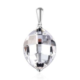 J Francis White Crystal from Swarovski Solitaire Pendant in Platinum Plated Sterling Silver