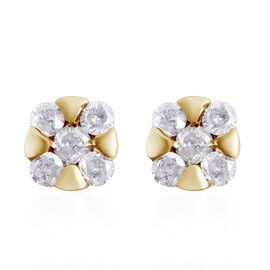 9K Yellow Gold SGL CERTIFIED Diamond (Rnd) (I3/G-H) Earring (with Push Back)  0.250 Ct.