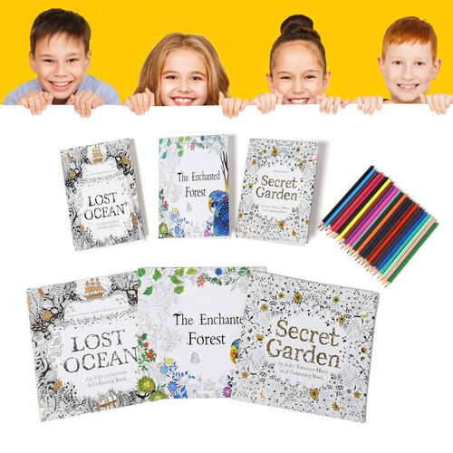 Set of 7 - Six Colouring Books with a Box of 24pcs Crayons (Lost Ocean, The Enchated Forest and Secret Garden)