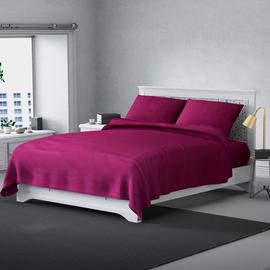 Serenity Night 4 Piece Set - Solid Microfibre 1 Flat Sheet (230x265cm), 1 Fitted Sheet (140x190+30cm) & 2 Pillowcase (50x75cm) - Plum (Double)