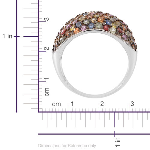 Designer Inspired - Rainbow Sapphire (Rnd) Ring in Rhodium Plated Sterling Silver 4.750 Ct.