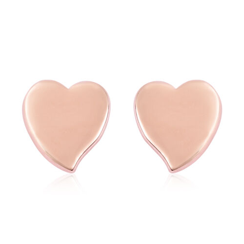 RACHEL GALLEY Rose Gold Overlay Sterling Silver Heart Stud Earrings (with Push Back)