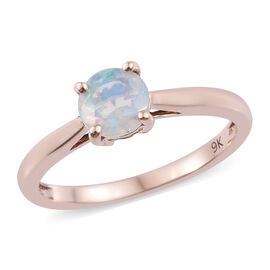 9K Rose Gold AAA Ethiopian Welo Opal (Rnd) Solitaire Ring 0.500 Ct.