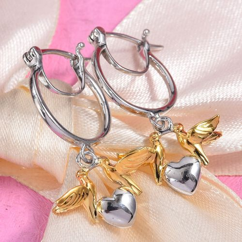 Platinum and Yellow Gold Overlay Sterling Silver Bird Heart Earrings (with Clasp), Silver wt 5.00 Gms