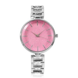STRADA Stellar Japanese Movement Water Resistant Pink Stardust Metal Bracelet Watch in Stainless Steel